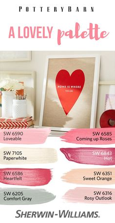 This winter, love is in the air...and on your walls. Add a little romance to your home with some sweet colors like Loveable SW 6590, Coming up Roses SW 6585, Heartfelt SW 6586 and Sweet Orange SW 6351, among others. For a little balance, rely on soothing neutral paint colors like Paperwhite SW 7105 and Comfort Gray SW 6205 to serve as the foundation for your palette.
