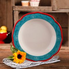 """The Pioneer Woman Happiness 10.5"""" Red Rim Decorated Scallop Shape Dinner Plates, Set of 4 - Walmart.com"""