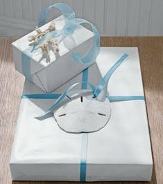 Gift Wrap It Coastal Style -Ideas with Shells, Sanddollars, Seaglass and more