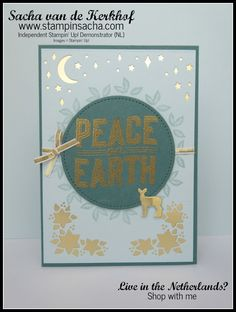 stampin sacha, peace on earth, goud en tranquil tide
