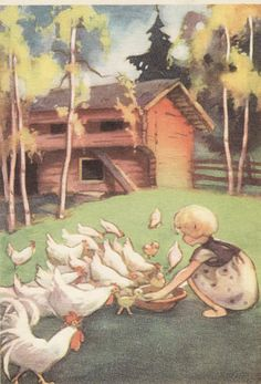 The Art of Martta Wendelin - from… Children's Book Illustration, Book Illustrations, Inspiration Art, Cottage Art, Chicken Art, Art Pictures, Vintage Pictures, Vintage Children, Childrens Books
