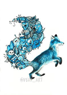 Blue Doodle Fox (Limited edition, Signed & Embossed) / Vexx_art