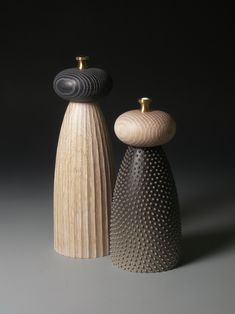 Handmade boxes, sculpture, jewellery and pepper mills by LouiseHibbert Salt And Pepper Mills, Salt And Pepper Grinders, Wooden Pepper Mill, Carving Designs, Deco Furniture, Wood Sculpture, Wood Turning, Wood Art, Candle Holders