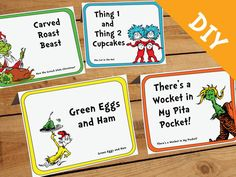 Dr. Seuss Food Label DIY Set - Customizable - Dr Seuss Party, Dr Seuss Baby Shower, Dr Seuss Birthday. Dr Seuss Printable, Dr Seuss Menu by AmpersandCreations on Etsy https://www.etsy.com/listing/225403253/dr-seuss-food-label-diy-set-customizable