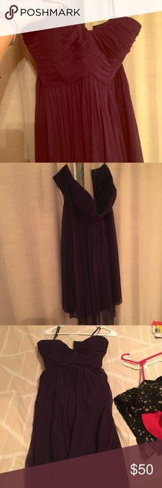 Plum sweetheartop dress Worn twice for a wedding. Two internal bra straps. Awesome and flowy! Donna Morgan Dresses Strapless