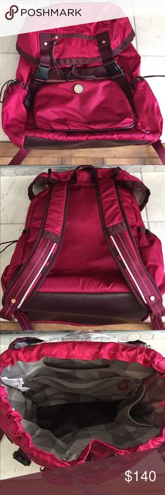 Lululemon Traveling Yogini Rucksack Lovely Lululemon Travel Backpack in bumble berry. Lots of storage, including a zippered top for a yoga mat and a detachable cross-body bag. Some scuff marks on logo, and dirt marks on cross-body bag. lululemon athletica Bags Backpacks