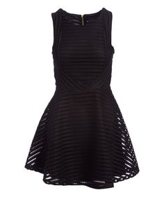 Take a look at this Black Stripe Sleeveless Fit & Flare Dress today!