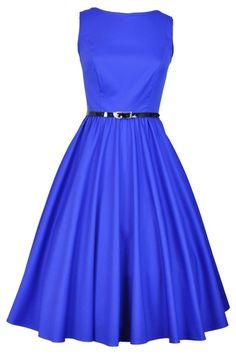 Elegant Blue Hepburn Dress