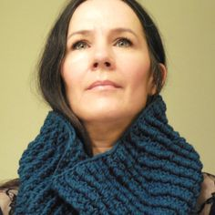 Blue Chunky Crochet Cowl Fashion Scarf, Textured, Mens Accessories, Womens Accessories