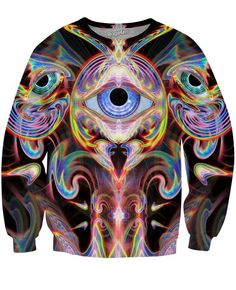 Psychedelic T-shirt, 'Rainbow Valley Fractal'. All over sublimation print Trippy T-shirt, UV active, trancewear, festivalwear, visionary art