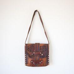 'How Now' floral tooled leather handbag Designer Leather Handbags, Black Leather Handbags, Luxury Handbags, Designer Bags, Leather Bags, Leather Tooling, Tooled Leather, Vintage Purses, Coach Handbags