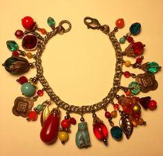 """Cat in the Garden"" Charm Bracelet by Jennifer Merrill Williams, LoveBeadz Designs 8/7/16 - Choxie Palette Challenge"