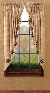 Primitive Country or Cottage Prairie Curtain Bingham Star | eBay