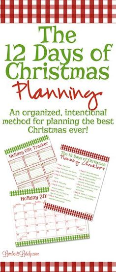 I love these ideas for planning an intentional Christmas! Includes holiday printables and a task planning checklist. All for free! holiday checklist The 12 Days of Christmas Planning