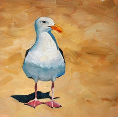 Dopey, Seagull Oil Painting, painting by artist Sharon Schock Watercolor Bird, Watercolor Animals, Watercolor Paintings, Original Paintings, Bird Paintings, Modern Oil Painting, Bird Artwork, Sea Birds, Beach Art