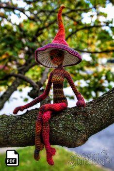 Amazing fantasy crochet pattern by Crafty Intentions. Crochet Patterns Amigurumi, Amigurumi Doll, Crochet Yarn, Crochet Toys, Crotchet Patterns, Crochet Things, Stuffed Mushroom Caps, Stuffed Mushrooms, Champignon Crochet