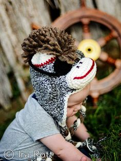 Pirate Sock Monkey Hat with Mohawk Eye Patch and by IraRott, $35.00
