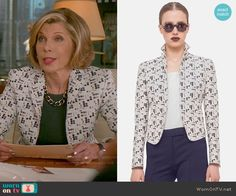 Diane's polka dot jacket on The Good Wife.  Outfit Details…
