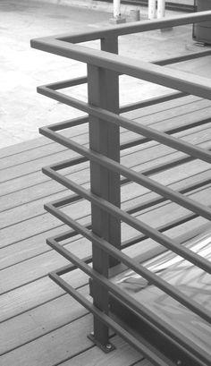 Custom Made Exterior Roofdeck Railing Glass Balcony Railing, Patio Railing, Balcony Railing Design, Iron Balcony, Steel Railing Design, Staircase Railing Design, Modern Stair Railing, Window Grill Design Modern, Balcony Grill Design