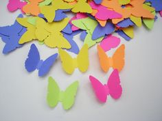 100 Bright Color Butterfly punch die cut confetti by BelowBlink