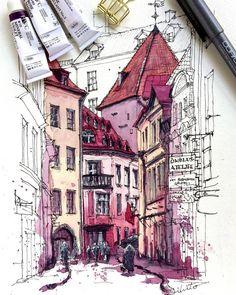 Por amor al arte: Akihito Horigome Pen Sketch, Art Sketches, Art Drawings, Watercolor Architecture, Architecture Art, Pen And Watercolor, Watercolor Paintings, Painting Art, Urban Sketching