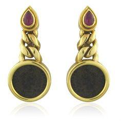Bvlgari Bulgari 18K Gold Ruby Antcent Coin Drop Earrings