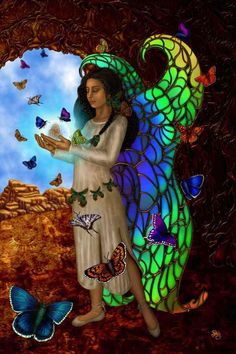 """Butterfly Maiden by Sharon George; Though Kachina means """"Spirit"""", """"Butterfly Maiden is believed to be a fertility Goddess who brings about transformation, new beginnings, and fresh starts in life. Indian Goddess, Goddess Art, Divine Goddess, American Indians, Native American, American Women, Kobold, Animal Totems, Gods And Goddesses"""