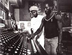 """sexartdesigncrime: Lee """"Scratch"""" Perry with Max Romeo (at Perry's Black Ark Studio, presumably) photograph by David Burnett"""