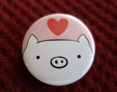 Cute pig pinback button :)