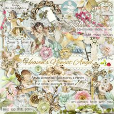 A sympathy themed scrapbook collection designed to coordinate with the Heaven's Newest Angel collection from Raspberry Road.
