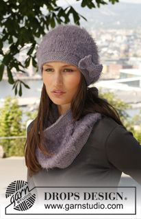 "Serenas Comfort - Set consists of: Knitted DROPS hat, neck warmer and wrist warmers in ""Symphony"" or ""Melody"" and ""Nepal"".. - Free pattern by DROPS Design"