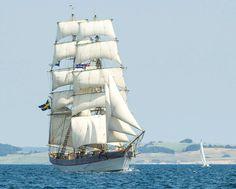 "Brig ""Tre Kronor"" (Three Crowns) under full sail by a light breeze"