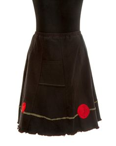 Upcycled recycled appliqué black tshirt skirt by sardineclothing, $60.00