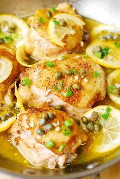 This chicken picatta is so easy! Pan-fried chicken thighs with garlic, lemon, capers in a juicy chicken broth. Gluten free dinner recipe.