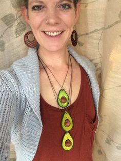 Avocado pendant necklace. Lasercut wood, hazelnut pit. Unique fun funky bold loud food foodie jewelry. Vegan veggie fruit. For him or her.