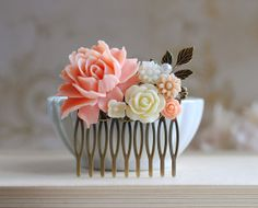 Pink Ivory Wedding Bridal Hair Comb. Vintage Style Pink by LeChaim, $26.00