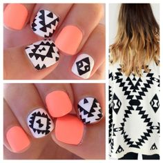DIY nail polish art, pattern, design, color combinations, ideas inspiration. Tribal pattern using black white combined with a bright peach solid.