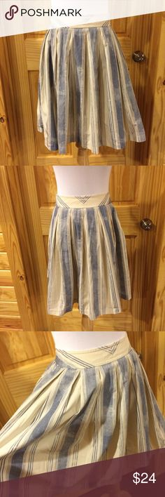 "Anthropologie Maeve Blue and Cream Striped Skirt Classic cotton skirt. Lined. Zips at side. In excellent condition. Waist: 26"" Hips: 44"" Length: 20"" Anthropologie Skirts"