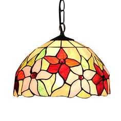 Tiffany Style Elegant Inverted Bowl shaped Stained Glass Pendant Light - GBP £ 83.51