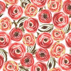 Fifties Rose fabric by lauram for sale on Spoonflower - custom fabric ❤ liked on Polyvore featuring backgrounds, patterns, pictures, fillers and wallpapers