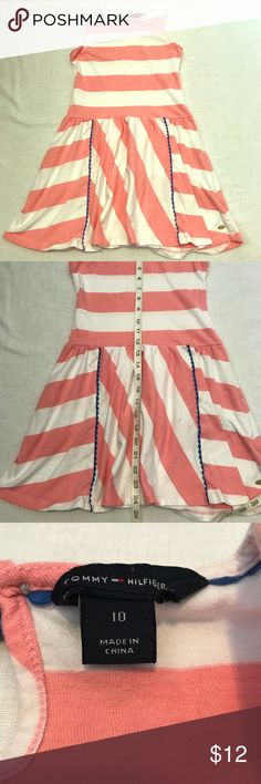 Tommy Hilfiger Girls Dress Sleeveless Knee Length dress in a cute pink & white striped pattern. Small dark spot on front skirt. Tommy Hilfiger Dresses