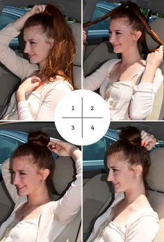 Here's an incredibly fast, polished top knot you can do in your car. | 41 Life-Saving Beauty Hacks Every Girl Should Have In Her Arsenal