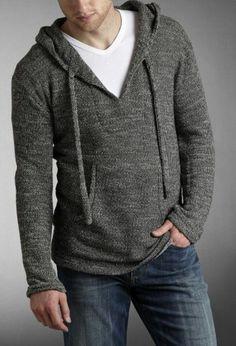 Medium wash jeans and hoodie.