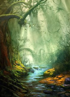 Enchanted Forest by digitalhadz - Breathtaking Landscape & Scenery Inspiration Mystical Forest, Fantasy Forest, Magic Forest, Forest Art, Dark Forest, Forest Mural, Misty Forest, Fantasy Places, Fantasy World