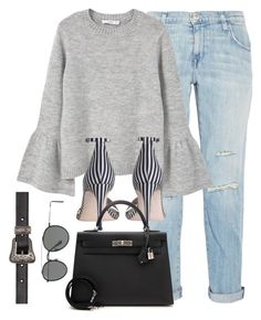 """Untitled #3126"" by theaverageauburn on Polyvore featuring Current/Elliott, MANGO, Zimmermann, Hermès, Ray-Ban and Yves Saint Laurent"