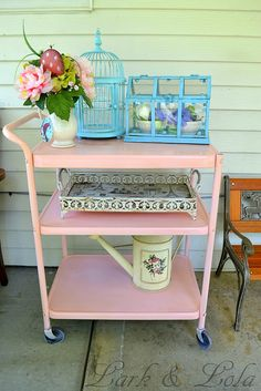 Thrift store cart painted pink, we had a yellow one when I was a kid