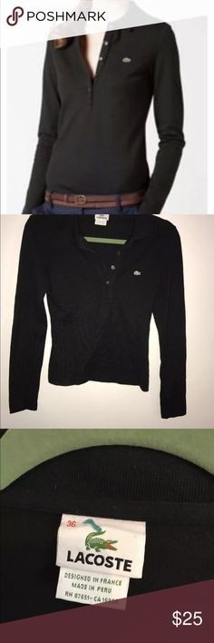 Lacoste Long Sleeved Polo Size 4 Women's XS Deep V Lacoste Long Sleeve Polo Size 4 (36) Black Women's Tops. Practically New. 94% Cotton, 6% Elastane. This shirt buttons down rather deep with 4 buttons. Lacoste Tops Tees - Long Sleeve