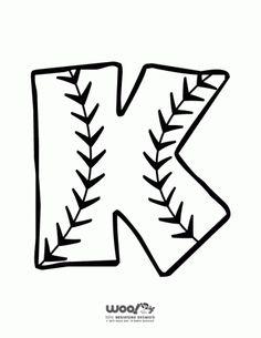 Printable softball/Baseball Alphabet Letters Baseball Alphabet Letter K – Craft Jr. Softball Party, Softball Crafts, Baseball Birthday Party, Softball Mom, Softball Cheers, Softball Pitching, Softball Stuff, Softball Shirts, Fastpitch Softball