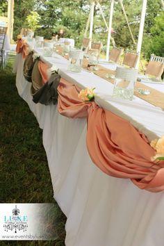 Burlap rustic wedding head table decoration, peach and silver rustic wedding head table draping