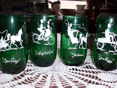 7 Anchor Hocking Forest Green Gay Nineties Glasses, Tumblers, 1960's Vintage Glassware, Set of 7 Mid Century Kitchen on Etsy, $27.00